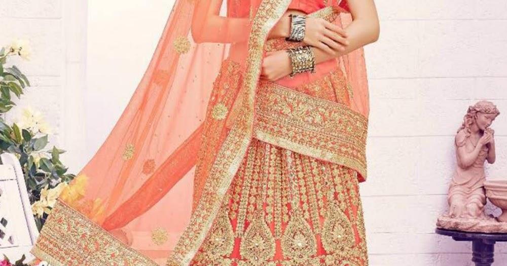 Peach Color Net Embroidered Designer Lehenga
