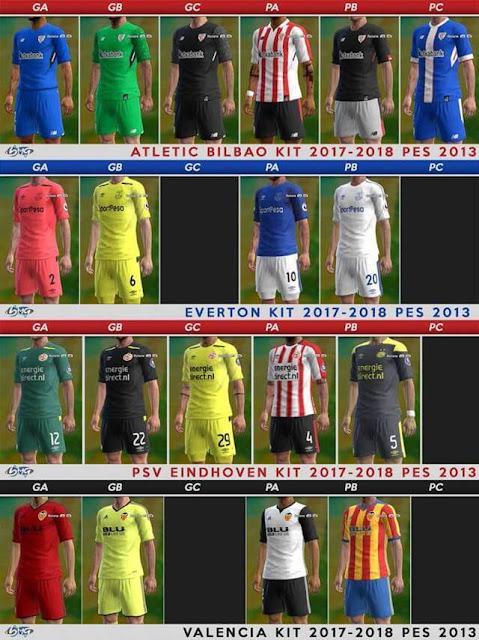 Atletic Bilbao, Everton, PSV Eindhoven & Valencia Kits 2017/2018 PES 2013