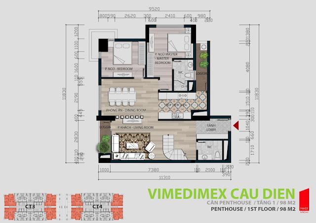 Thiết kế tầng 1 - 98m2 căn hộ Penhouse