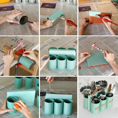 Organizador de cubiertos con latas recicladas y una tabla de madera