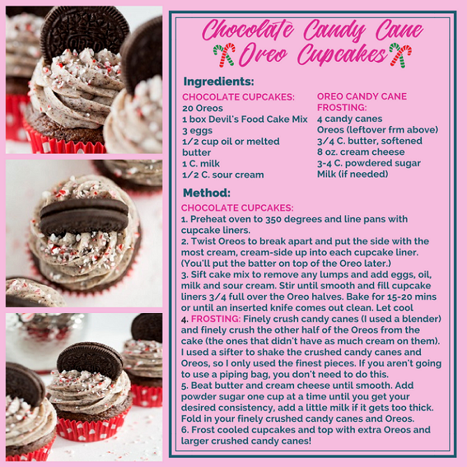CHOCOLATE CANDY CANE OREO CUPCAKES RECIPE