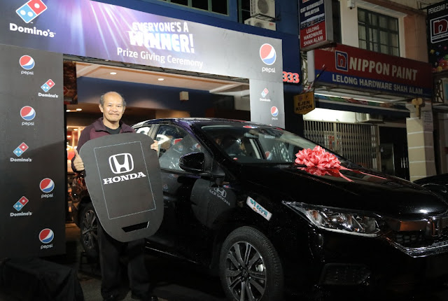 Domino's Pizza & Pepsi Black Unveil Winners of The Everyone's A Winner Contest Grand Prize Winner Drives Home A Brand New Honda City!