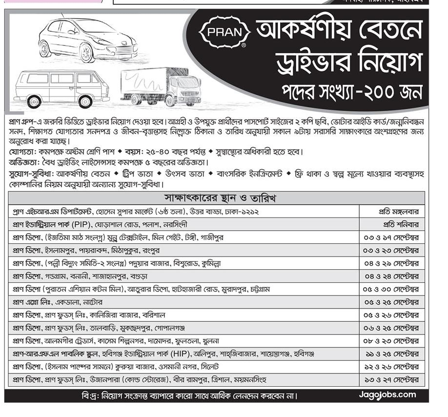 Pran Group Driver Job Circular 2018