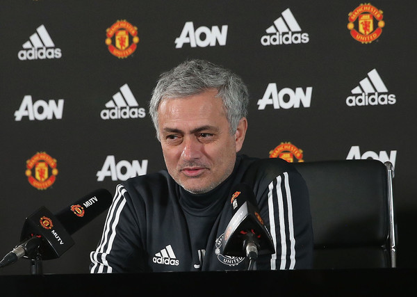 Manager Jose Mourinho of Manchester United speaks during a press conference at Aon Training Complex on January 4, 2018 in Manchester, England. (Jan. 3, 2018 - Source: Matthew Peters/Manchester United)