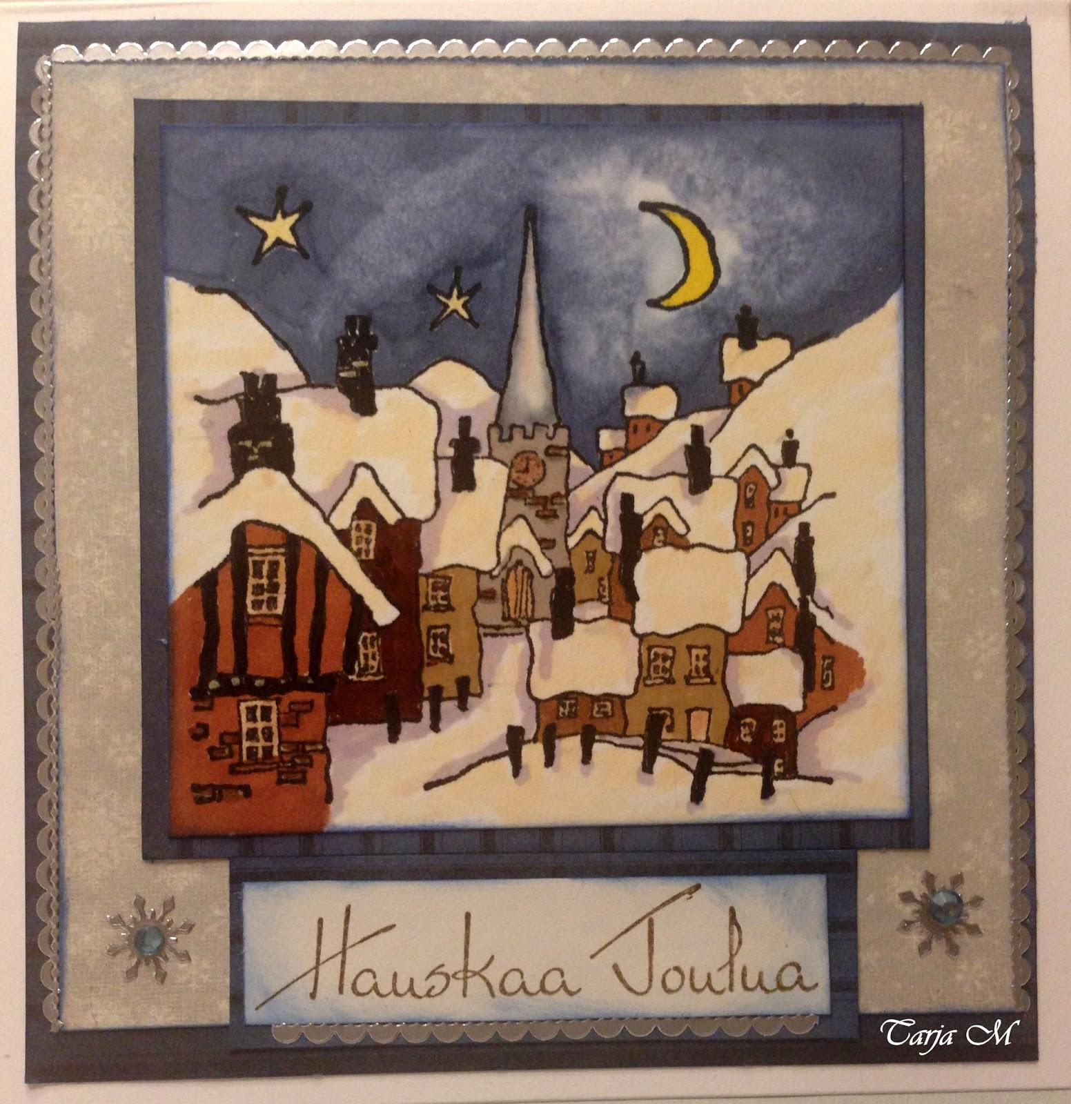Olkalaukku Kangas : Paperi ja kangas joulun korttikalenteri joulukyla