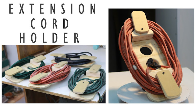 extension cord holder, hinged, compact, wood