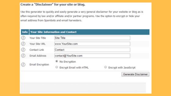 Cara membuat Disclaimer Online untuk Blog