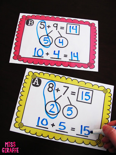 Easy directions how to teach making a ten to add in first grade