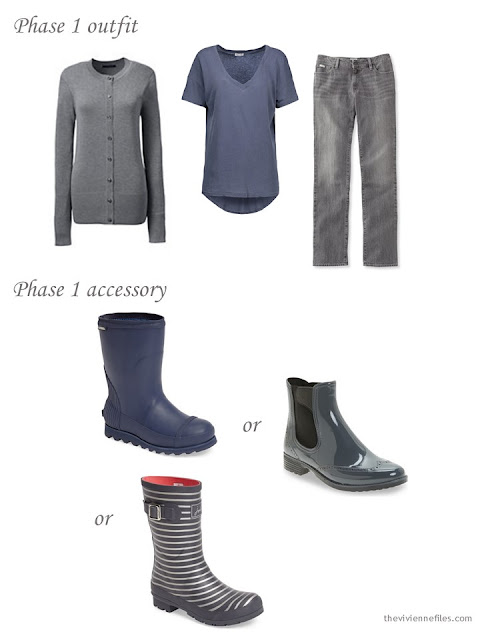 A grey and denim blue outfit, with a choice of waterproof boots