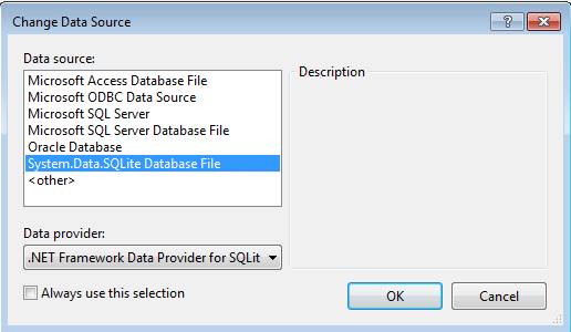 Using SQLite in  NET with Visual Studio 2013