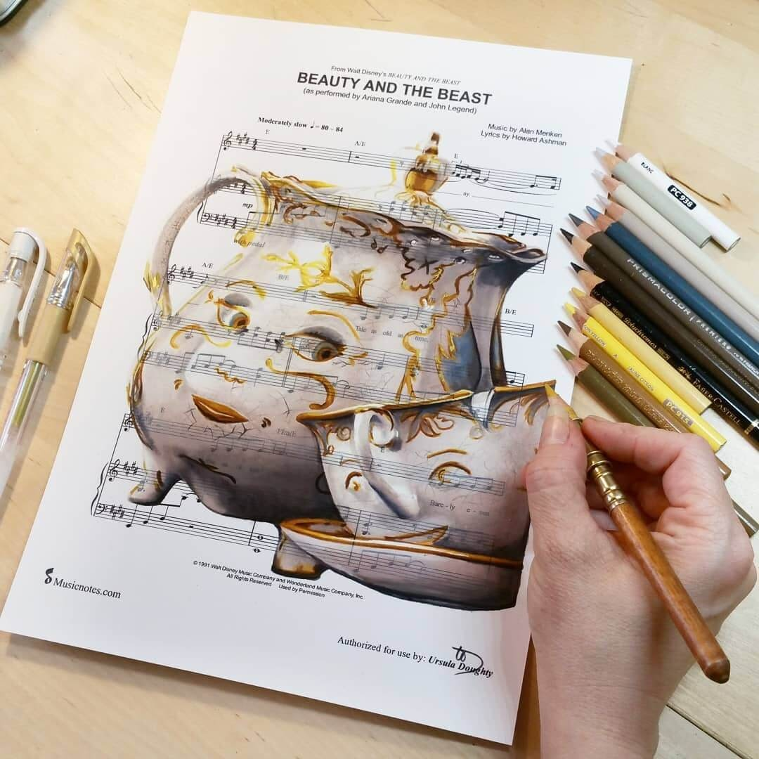 11-Mrs-Potts-and-Chip-U-Doughty-Movie-Character-Drawings-on-Music-Sheets-www-designstack-co