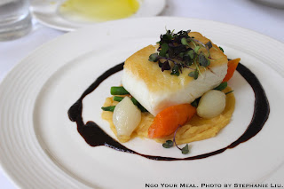 Pan Seared Halibut, fava purée, haricot verts, red onion balsamic glaze at NERAI
