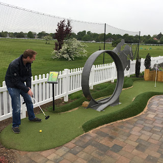 Richard Skeggs playing Mini Golf at Sandown Park Golf Centre in Surrey. Photo by Oliver Florence 120518
