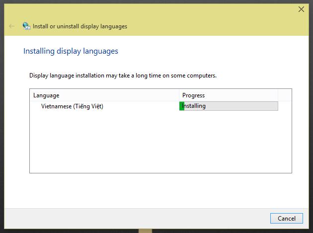 Windows 10 language Installation process