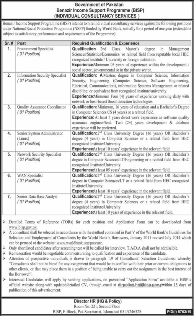 Jobs in Benazir Income Support Programme BISP 2020 Advertisement