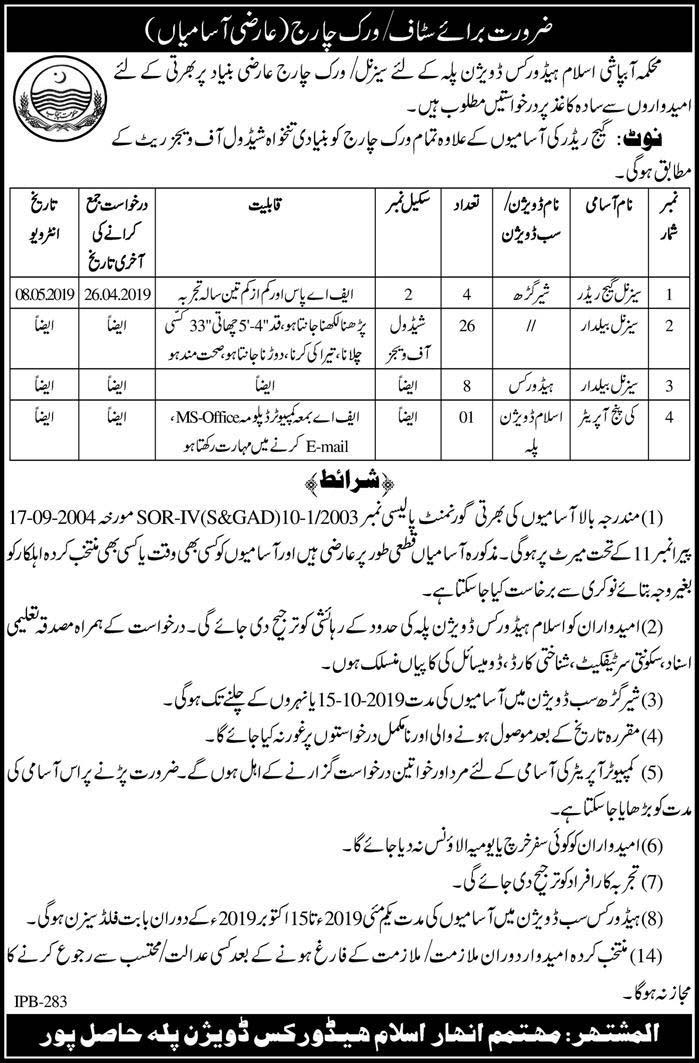 Government Jobs in Irrigation Department Govt of Pakistan 13 April 2019