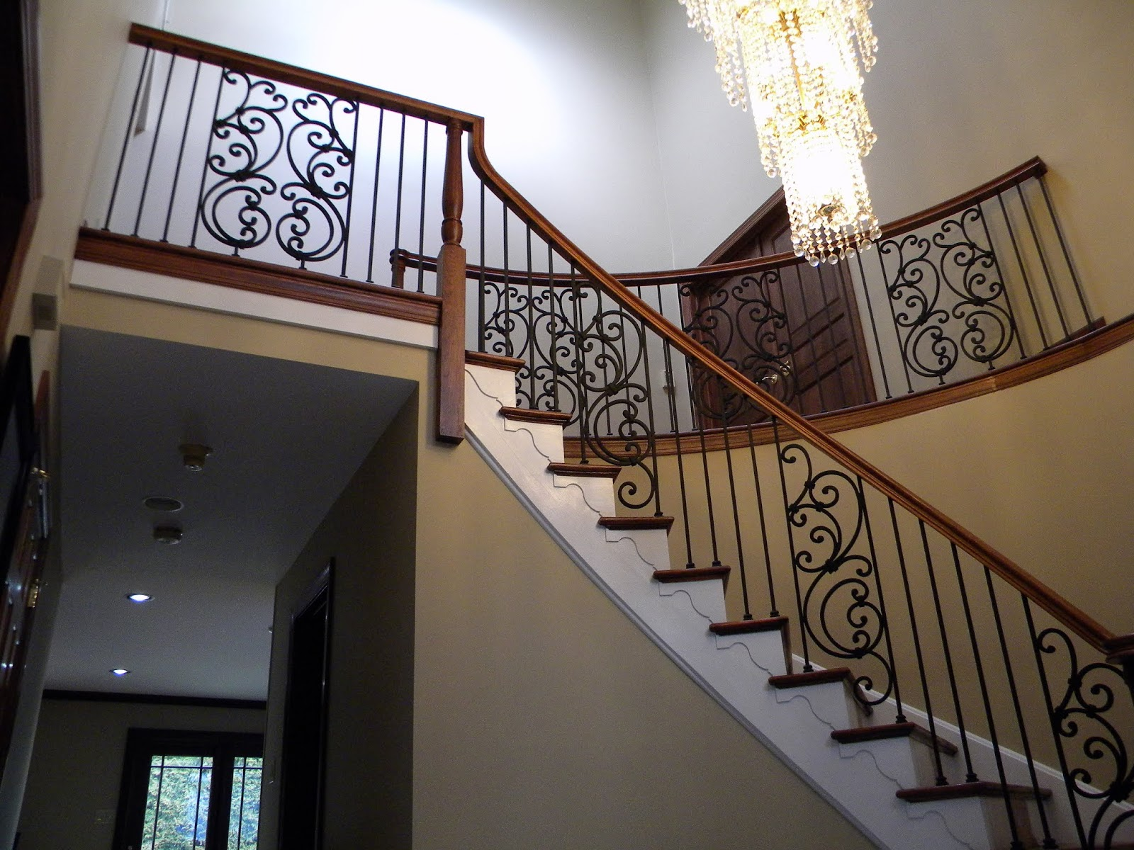 Wood Stairs And Rails And Iron Balusters Custom Stairs And Rails | Custom Handrails Near Me | Wood | Balcony | Deck Railing | Powder Coating | Steel