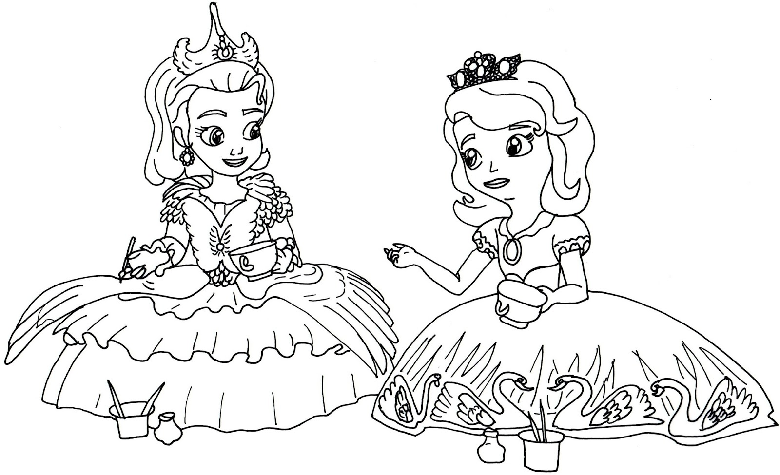 first coloring pages tea for - Princess Tea Party Coloring Pages
