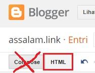 Lalu silahkan pilih tombol HTML bukan Compose di bagian bawa judul blog.