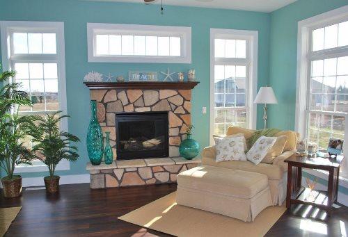 Inspirasi desain warna ruang tamu dengan warna hijau tosca Warna Ruang Tamu Hijau Tosca