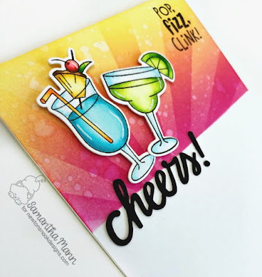 Pop Fizz Clink Card by Samantha Mann for Newton's Nook Designs, Cheers, Distress Ink, Ink Blending, cocktails, die cuts, #newtonsnook #diistressinks #inkblending #cheers #cocktails #handmadecards #cards