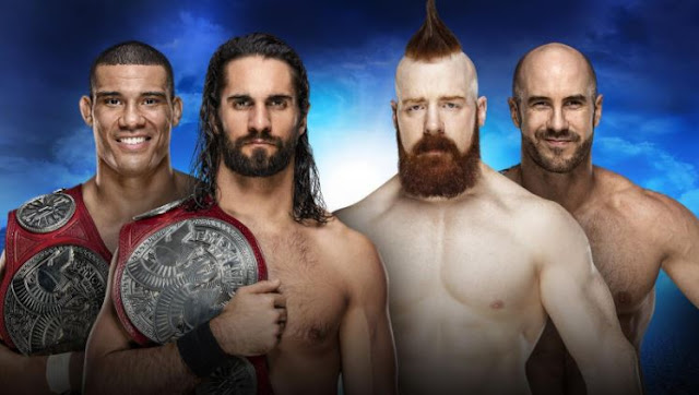 Seth Rollins and Jason Jordan (c) vs Cesaro and Sheamus WWE Raw Tag Team Championship Royal Rumble 2018