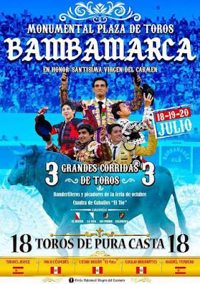 cartel toros toreros bambamarca 2018