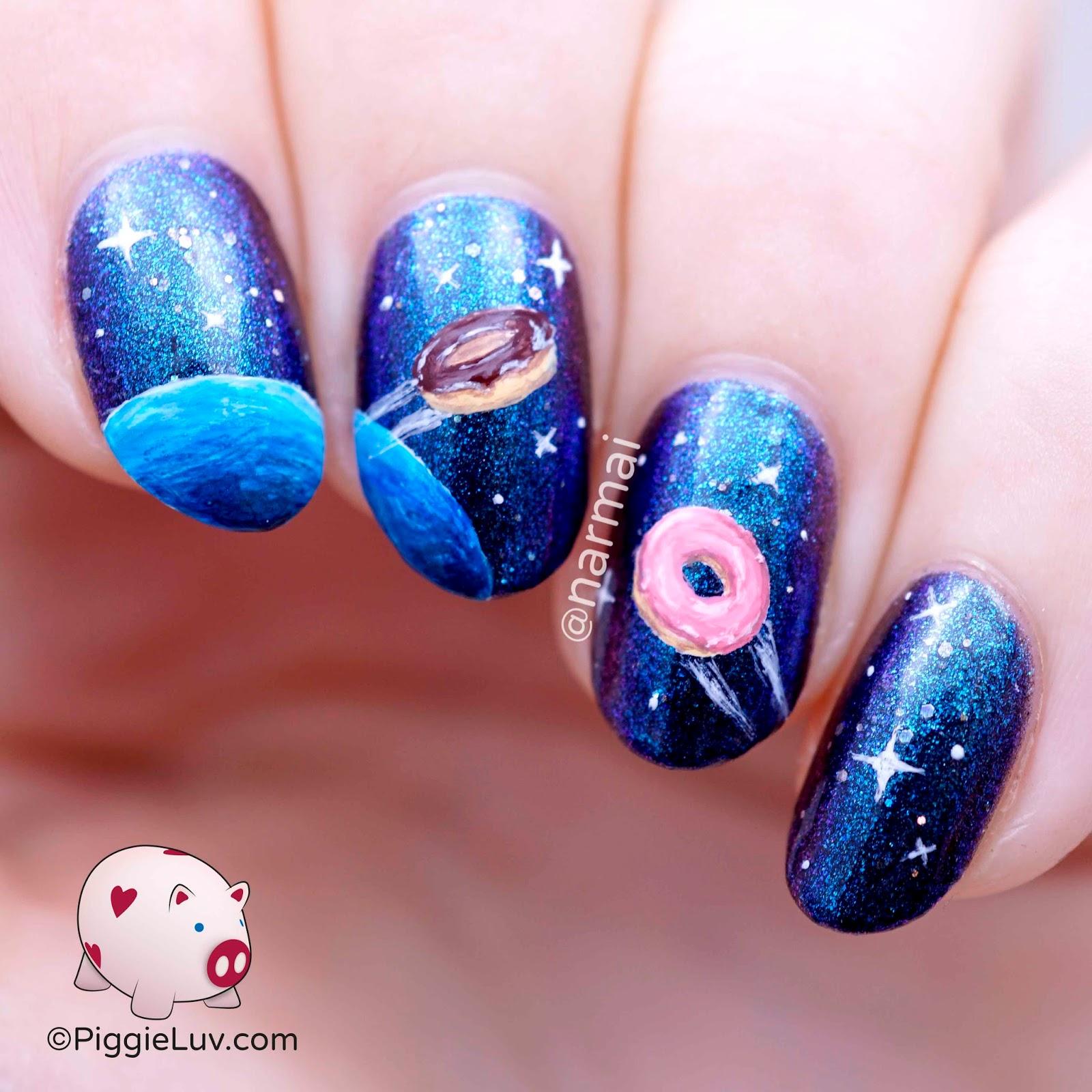 PiggieLuv: Galaxy donuts nail art