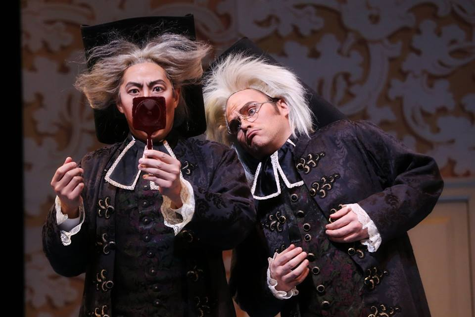 IN PERFORMANCE: Bass ADAM LAU as Don Basilio (left) and tenor ANDREW OWENS as Conte d'Almaviva (right) in North Carolina Opera's production of Gioachino Rossini's IL BARBIERE DI SIVIGLIA, 1 April 2016 [Photo by Curtis Brown, © by North Carolina Opera]