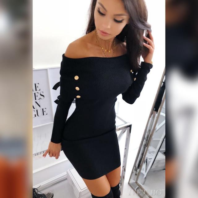 Μακρυμάνικο  μαύρο φόρεμα SERAFINA BLACK
