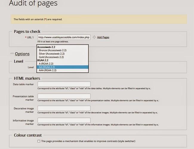 Pantalla de opciones de la auditoria de páginas de Tanaguru. A continuación se describe las opciones que presenta