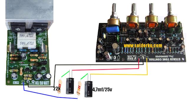 cara memasang tone control stereo ke power mono