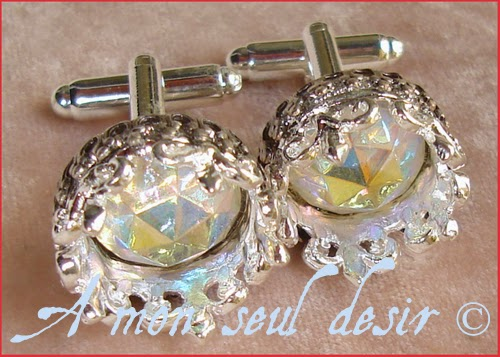 Boutons de manchettes argent couronne cristal roi reine bijoux silver king queen jewelery hand cuff Crystal Crown