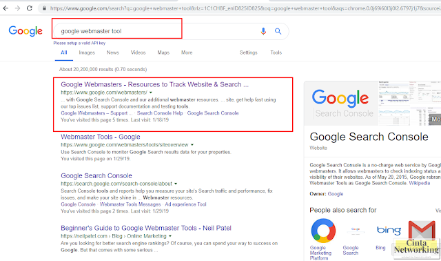 Google Webmaster Tool - Cinta Networking