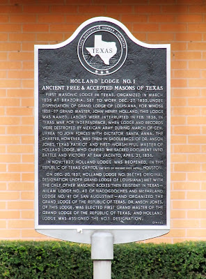 Holland Lodge No. 1 on Montrose Blvd - Texas Historical Commission Marker