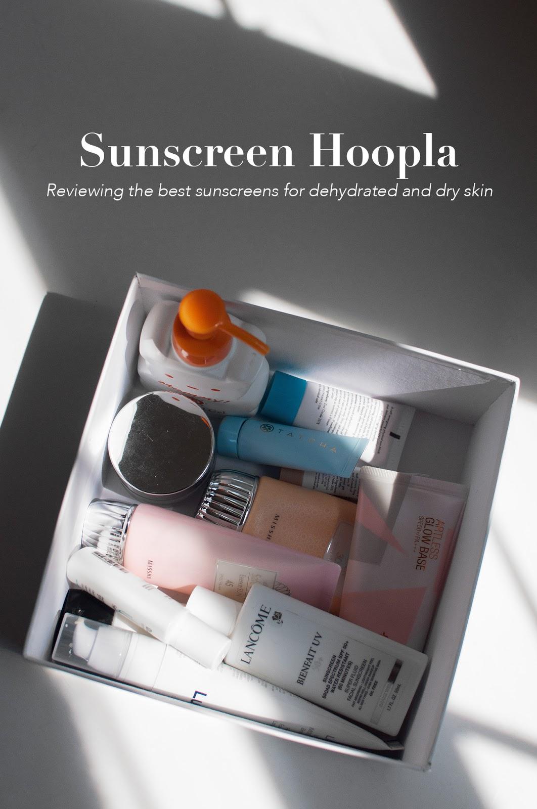 sunscreen review, best asian sunscreen, best korean sunscreen for dry skin, best sunscreens for dry skin, best sunscreens for dehydrated skin, best suncreens for dry acne prone skin, best alcohol free sunscreens,