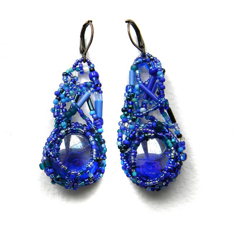 Оригинальные фриформ-серьги в  синих тонах - бохо-стиль