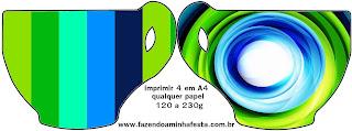 Tarjeta con forma de taza de Azul y Verde.