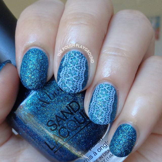Blue Texture with White Floral Lace Stamping Nail Art