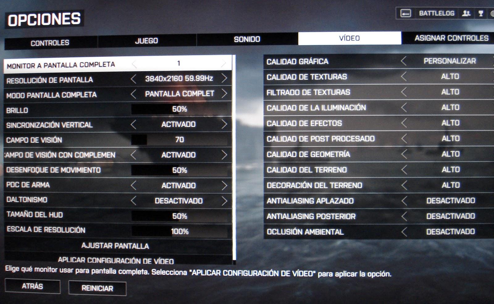Battlefield 4 configuración a 4K calidad gráfica ALTO