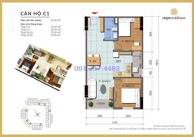 Mặt bằng thiết kế tòa Đơn Nguyên 4 Hope Residences Phúc Đồng