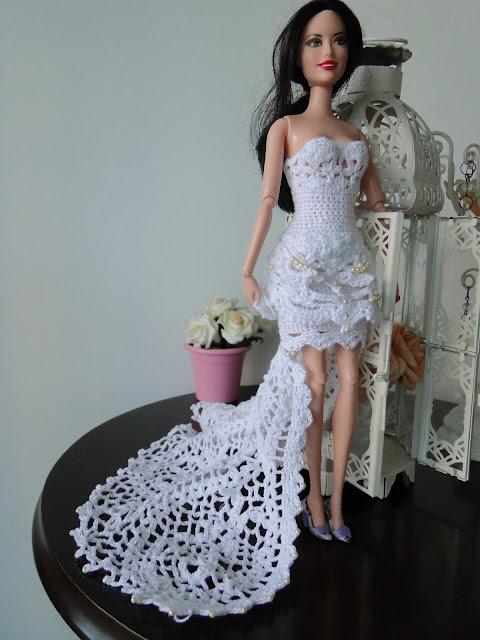 Vestido de noiva de crochê para Barbie, por Pecunia MillioM 3