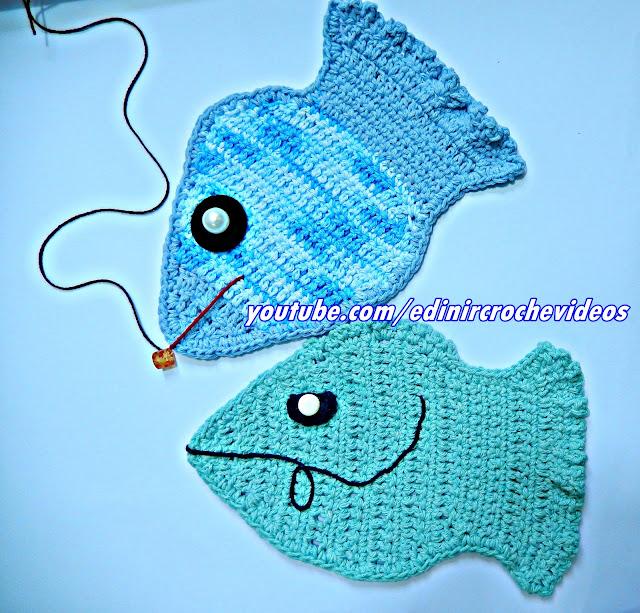 peixe em croche peixinho aplicação tapete decoração aprender croche edinir croche videos youtube curso de croche facebook