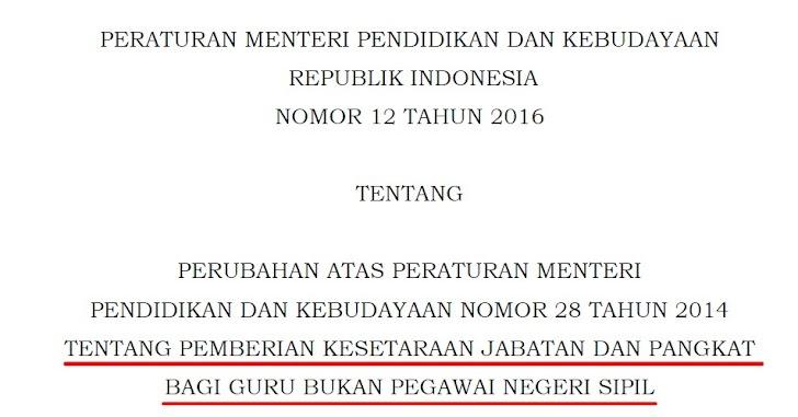 Permendikbud Nomor 12 Tahun 2016 Tentang Pemberian Kesetaraan Jabatan dan Pangkat bagi Guru Non PNS Sebagai Perubahan Atas Permendikbud Nomor 28 Tahun 2014