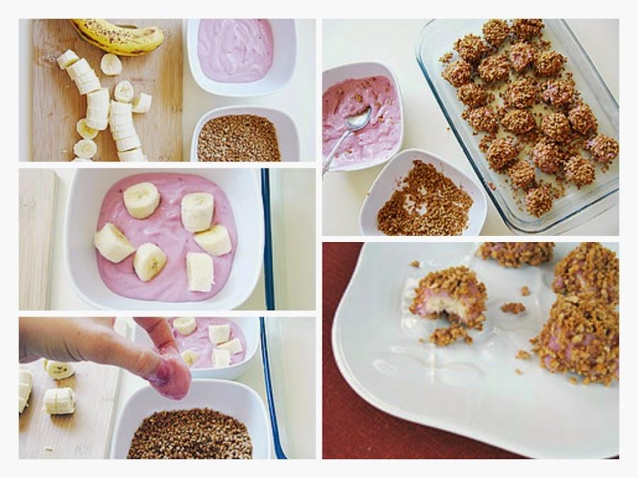 Cómo hacer bocaditos de banana, yogur y granola
