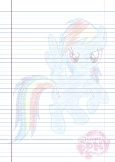 Folha Papel Pautado Little Poney da Rainbow Dash rabiscado em PDF para imprimir na folha A4