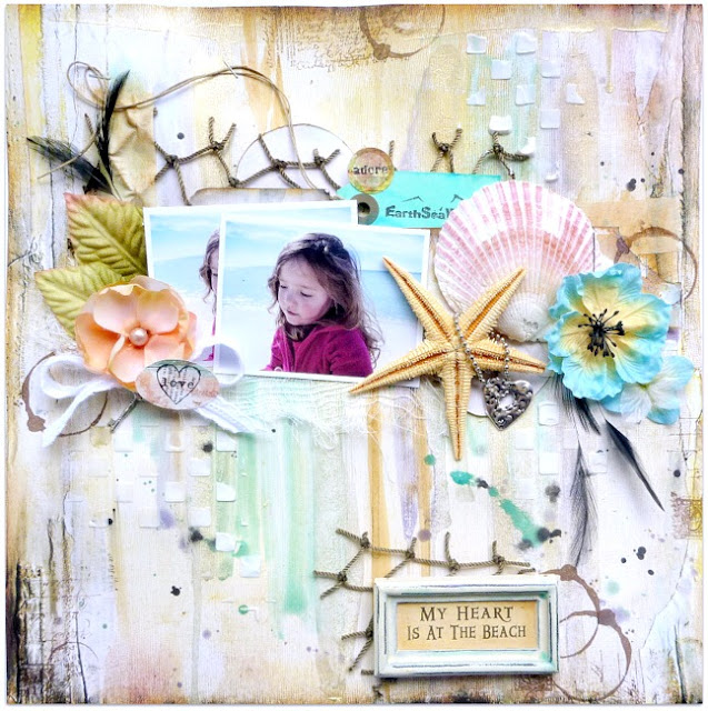 Mixed Media Beach Themed Scrapbook Layout with Flowers Shells and Pearl Ex Watercolor Background