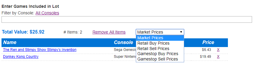 Use Gamestop Sell Trade Prices In Lot Calculator