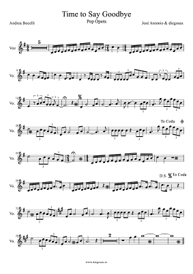 Time to say Goodbye de Sarah Brightman y Andrea Bocelli Con te Partiró Partitura para saxofón alto, flauta travesera, vioín, trompeta, clarinete, trombón, saxo soprano, saxo tenor y flauta de pico y dulce. Partitura de Con te partiró Por tí volaré sheet music Time to say goodbye score