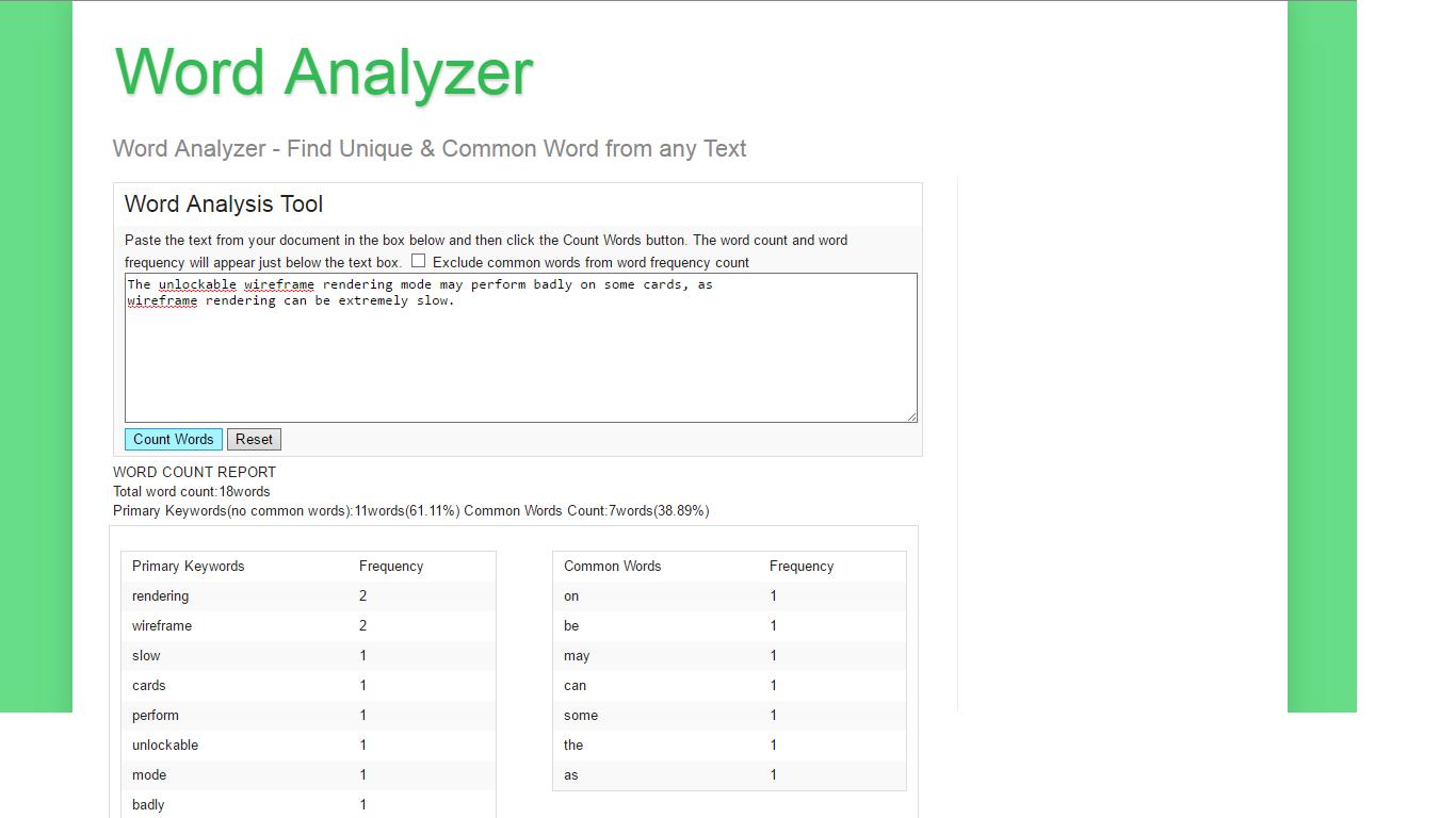 Word Counter - Word analyzer